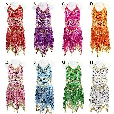 Girls Kids Belly Dance Costume Sparkly Circle Sequin Coins Top & Skirt Dress