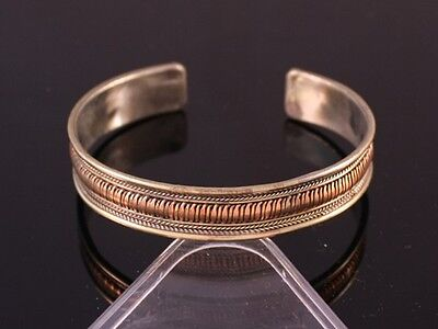 Half Inch Wide Tibetan 3-color Copper Delicately Braided Weaving Cuff Bracelet