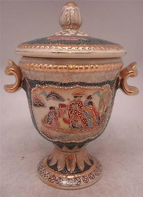 Japanese Satsuma ware Pottery Urn with Lid