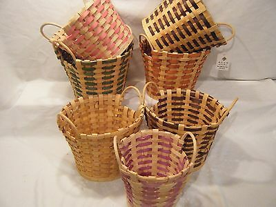 Lot of 7 Round Chic Baskets Cane Bamboo Fruit Gift Assorted W/Handle Arrangemen