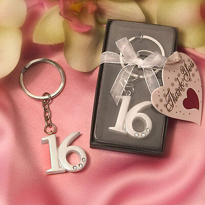 Sweet 16 Key Rings Keyring Girl Sixteen Key chain Birthday Party Favors