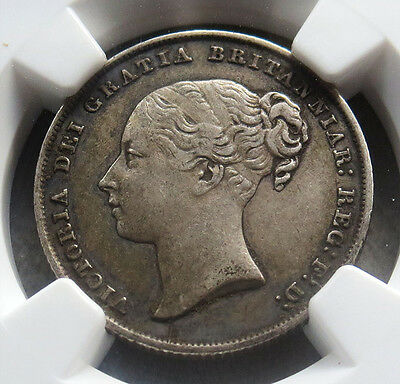 1845 Silver Great Britain Shilling Victoria Ngc Extremely Fine 45 Rotated Die
