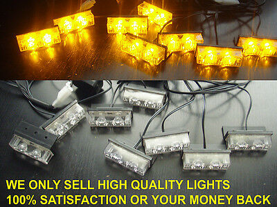 12 volt AMBER RECOVERY STROBE LED LIGHTS ORANGE GRILL BREAKDOWN FLASHING BEACON