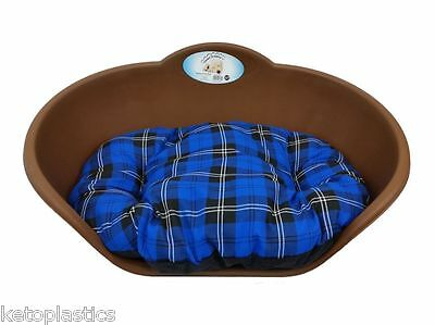 MEDIUM Plastic BROWN Pet Bed With BLUE TARTAN Cushion Dog Cat Sleep Basket