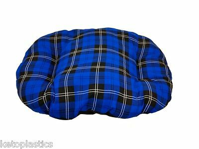 MEDIUM BLUE TARTAN Cotton Dog Cat Bed Cushion To Put In Bottom Of Basket UK Made