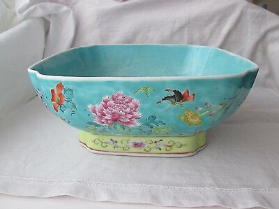 Large 19th Century Chinese Famille Rose Bowl. Qianlong Character Marks.