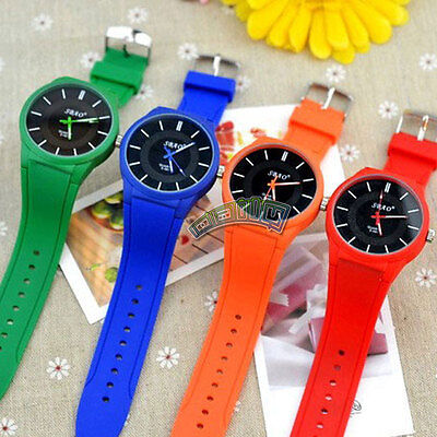 New Womens Mens Simple Sport Quartz Watch Jelly Rubber Wristwatch Candy Color