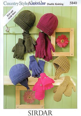 Hats and Gloves in Sirdar DK 5840 Knitting Pattern. Sizes for Children and Adult