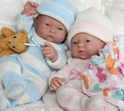 "TWINS ~ Precious Mini 9.5"" Berenguer La Newborn Boy & Baby Girl Doll + Extras"