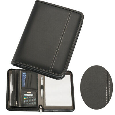 1 x A5 Black Zippered Compendium New Leather style | leather look | Fast del
