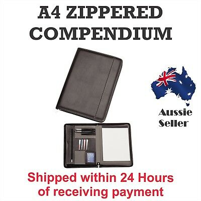 1 x New A4 Black Zippered Compendium Leather style Fast del Australia Wide