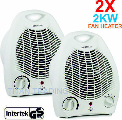 2X Portable 2kw Home Electric Upright Adjustable Fan Heater Hot Cold Small 2000W