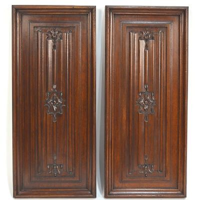 Antique Pair French Carved Walnut Architectural Neo Gothic Linnenfold Panels