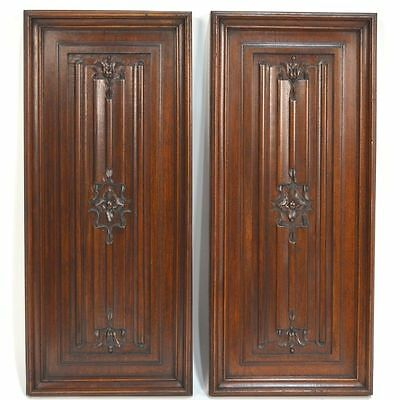 Antique Pair French Carved Walnut Gothic style Linnenfold Panels
