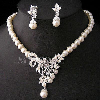 Crystal Pearl Silver Plated Necklace Earring Wedding Party Bridal Jewelry Set