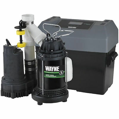 Wayne WSSM40V - 1/2 HP Combination Primary and Backup Sump Pump System w/ Adv...