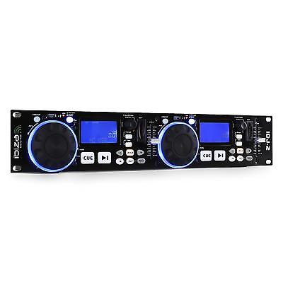 Controleur Dj Ibiza Idj-2 Double Platine Cd Lecteur Usb Sd Mp3 Scratch Rack 19""