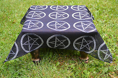 "Black Altar Cloth with Pentagram design 21"" x 21""  ~ Ritual ~ Altar"