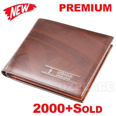 Premium Genuine Leather Mens Purse Bifold Brown Business Credit Card Wallet