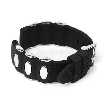 20mm Black Silicone Rubber and Metal Watch Strap Band Men Replacement Waterproof