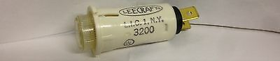 "Leecraft LCD 32-2117T Lampholder Flat Cylindrical 125V 1/3W 3/6"" Tabs Clear NOS"