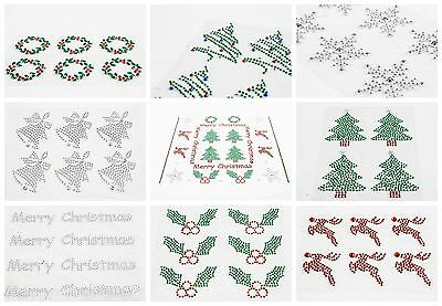Self Adhesive Christmas Craft Diamante Rhinestone Stick On Gems Red Green Clear