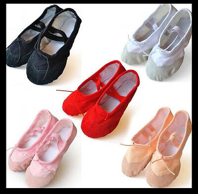 Girls & Ladies Canvas Split Sole Ballet Dance Shoes Fitness Shoes + Leather Toe