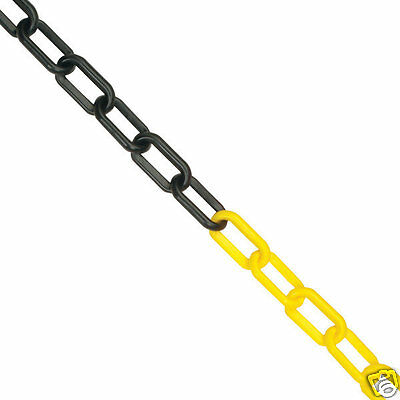 25m x 6mm Plastic Barrier Chain Safety Decorative Garden Fence - Yellow & Black