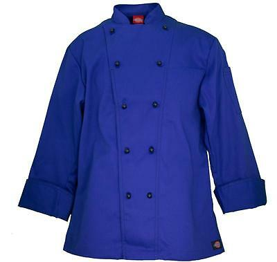 NWT Dickies CW070302 Cobalt Blue Executive Chef Coat 34-54 Twill Stretch