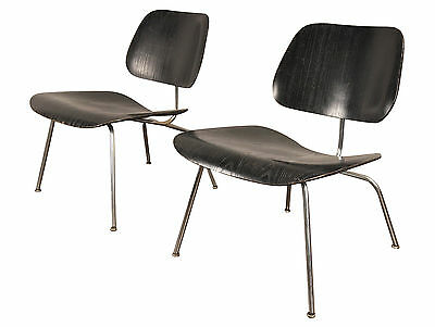 Early 1950s Mid-Century PAIR of Black Eames LCM Chairs for Herman Miller