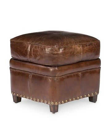 18x18 wide small ottoman stool vintage brown cigar leather cool practical