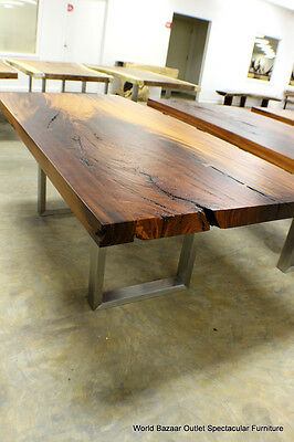 """84"""" L Dining Table Stainless Steel Contemporary base Solid Slab Acacia Wood WBO9"""