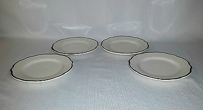 Vintage Buffalo China Manhattan Black Lot #9 Set Of 4 Luncheon Plates