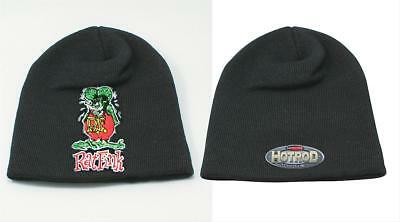 Summit Racing Knit Cap Beanie Acrylic Black Rat Fink Logo One Size Fits All Each