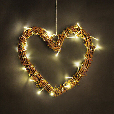 Battery Light Up Wicker Heart Lamp LED Fairy String Lights Wall Sign Warm White