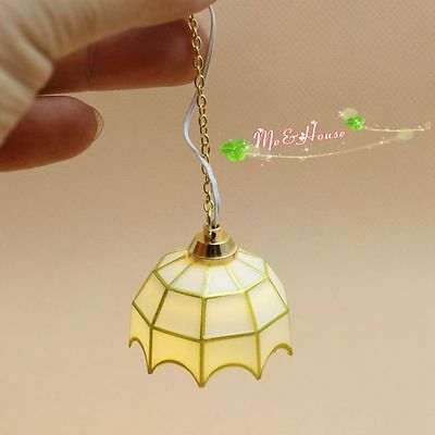 1/12 dollhouse miniature battery-operated/powered led hanging lamp light modern
