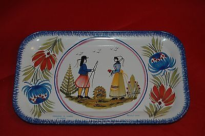 """Faieneries de Quimper 1 Tin Tray Massilly France 6 7/8"""" x 4 1/4"""""""