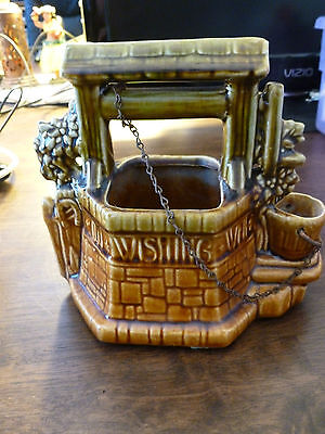 Vintage McCoy Wishing Well Planter - Brown/Green - Chain & Pail - Piggy Bank