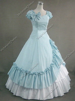 Southern Belle Civil War Gown Period Dress Reenactment Theatre Clothing 208 Blue