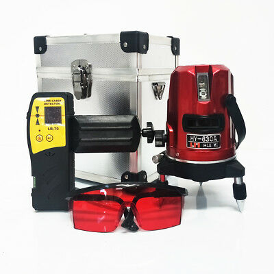 5 Lines Laser Auto Leveling + Detector Receiver Multi Cross Red Beam Rotary Base