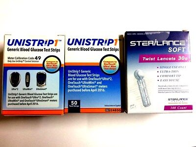 UniStrip 100 Test Strips +100 Lancets For Onetouch® Ultra® Meters Exp: 08/2017