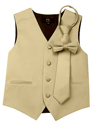 Boy's Champagne Satin Formal Dress Tuxedo Vest, Tie & Bow-Tie Set. Wedding, Prom