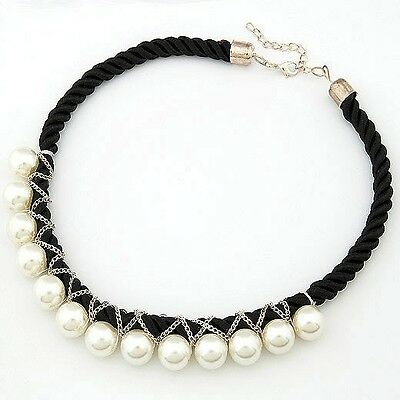 New Unique Stylish Jewel Black Rope Necklace White Pearl Pendant Lovely Chain