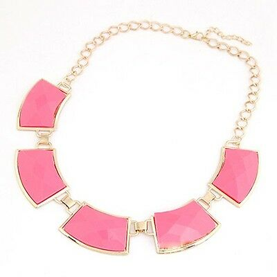 Fashion New Jewel Unique Gold Metal Necklace Pink Square Pendant Lovely Chain