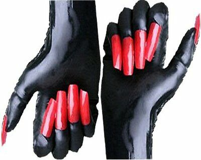 """Rubber Latex Gloves """" Mistress"""" with & without claws selection black red white"""