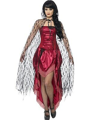 Long Black Gothic Lace Cape Halloween Vampire Fancy Dress Costume Accessory