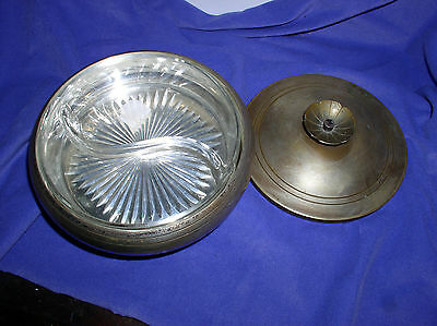 Silverplated Covered Bonbon Dish With Glass Insert