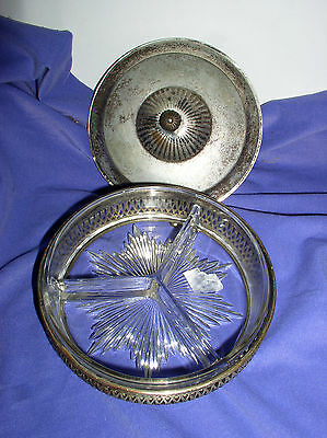 Silverplated Covered Bonbon Dish With Divided Glass Insert