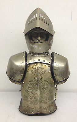 Vintage Metal Knight in Shining Armor Saki & Liquor Cabinet Made in Japan