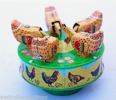 Tin Toy Pecking Chickens Classic Tin Toy Collectible Replica Vintage
